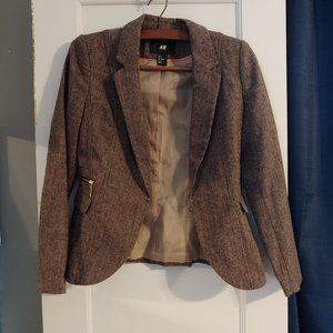Brown and pink H&M blazer size 6 has shoulder padding